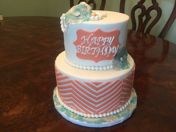 Birthday cake with chevron and edible paper flowers