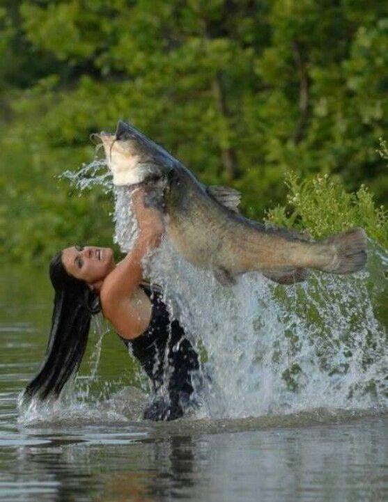 Ο χρήστης K1ller αποθήκευσε κάτι στον πίνακα Kayaks/Fishing Beautiful woman Noodles 30 pound Flathead Catfish. LOL