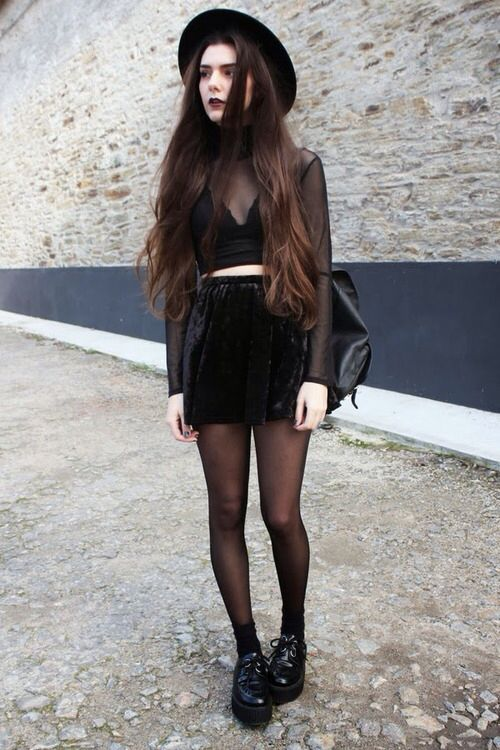 A classy way to do the full head-to-toe black look. Love the hat!: