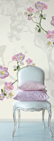 ♔ Floral wall decor. enlarged scale pattern behind colourful pattern, in light tonal colouration: