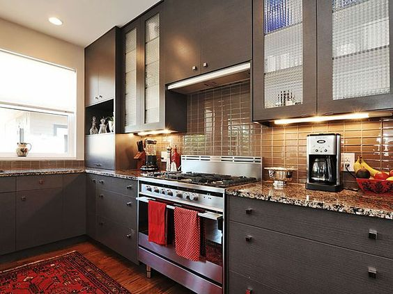 modern kitchen with red orange accent color combined | modern earth tone kitchen with red accents | Shelter ...