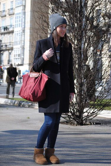 Paul \u0026amp; Joe Coat, Zara Jeans, Ugg Boots, Longchamp Bag