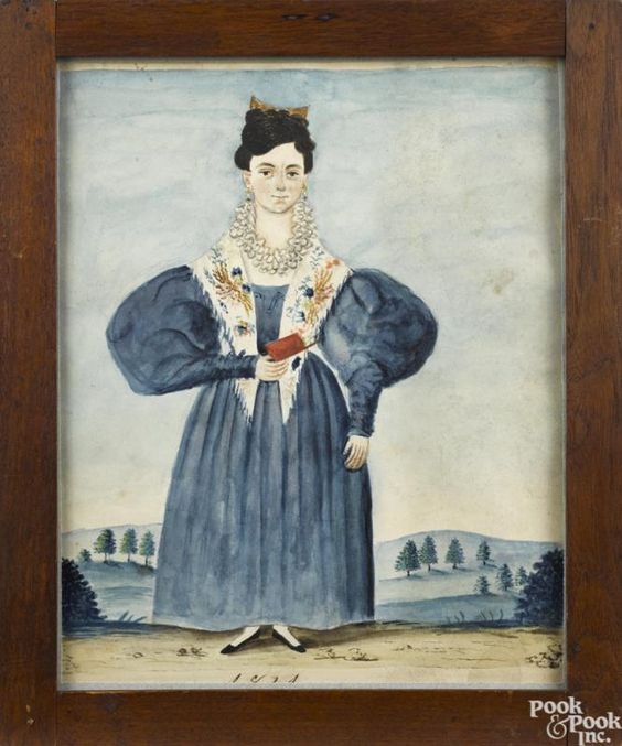 Jacob Maentel (American 1763-1863), watercolor full-length portrait of Catherine Carver Bishop - Price Estimate: $4000 - $8000: