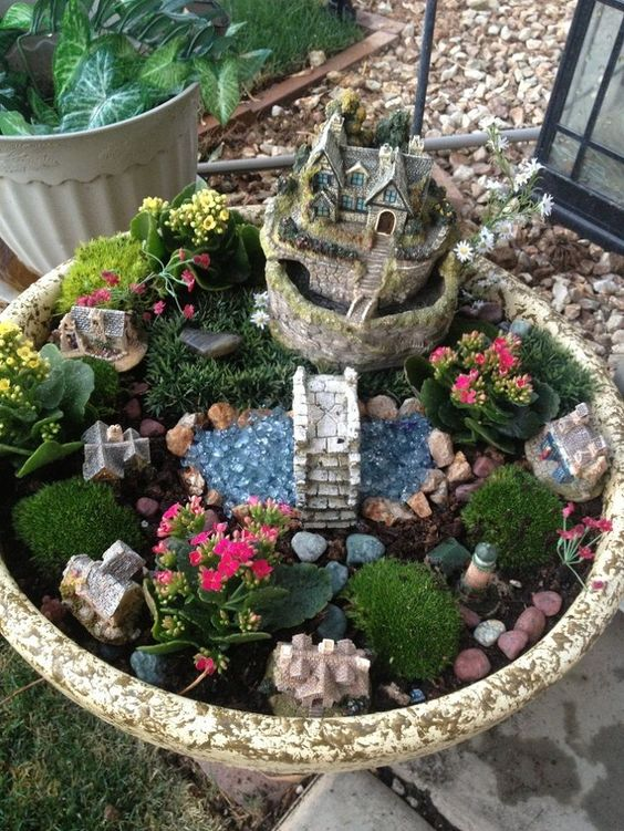 Gardens garden ideas and miniature on pinterest - How to make a fairy garden container ...