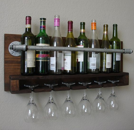Industrial Rustic Modern 8 Bottle Wine Rack With 6 Glass