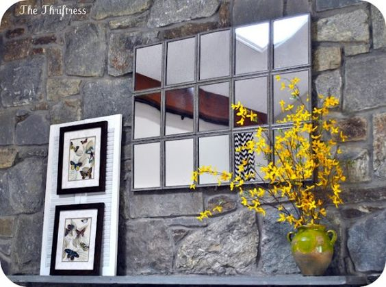 Make a large tiled mantle mirror for 17 inspired by for Dollar store mirror craft