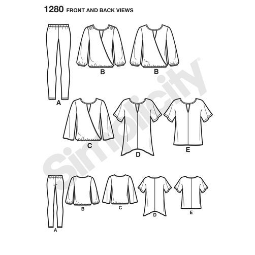 Simplicity Pattern 1280 Misses' Tunics, Top and Leggings: