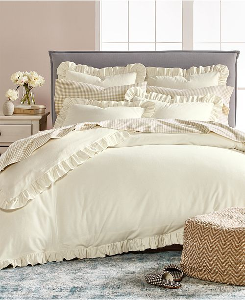 Martha Stewart Collection Closeout Luxury Portuguese Flannel Ruffle Full Queen Duvet Cover Created For Macy S Duvet Covers Mattress Furniture Luxury Bedding