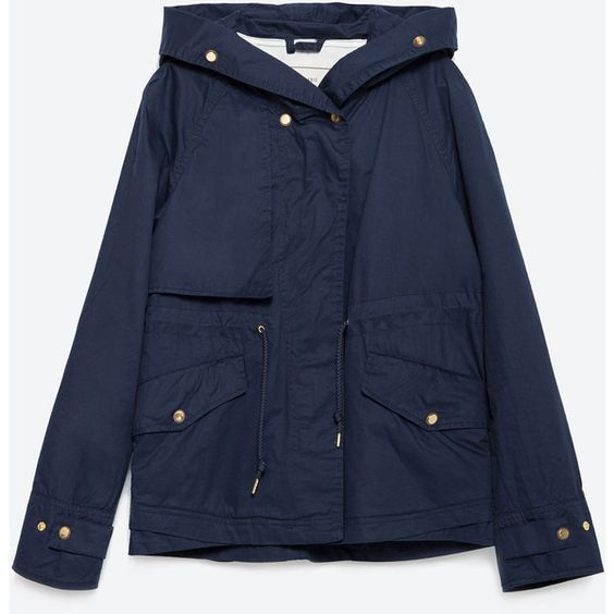 Zara Hooded Cotton Parka ($100) ❤ liked on Polyvore featuring
