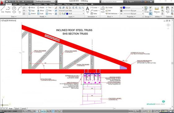 Roof Steel Truss Supported On Masonry Wall With Concrete Chainage Beam Steel Trusses Steel Roofing Masonry Wall