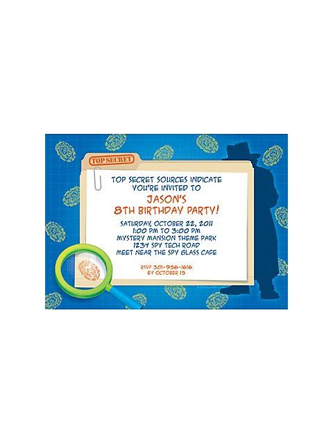 Spy Party Personalized Invitation (each) - Custom Invitations & Party Supplies