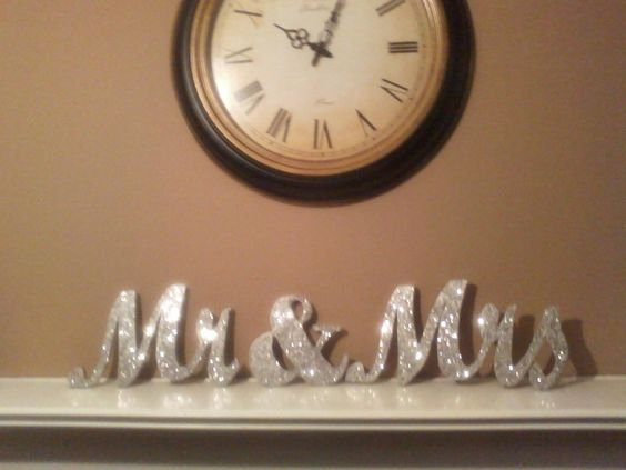 Mr And Mrs Sign Glittered Wedding Decor Wedding Table