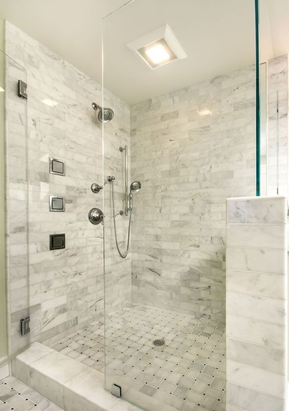 Glasses tile and master bathrooms on pinterest for Master bathroom no door