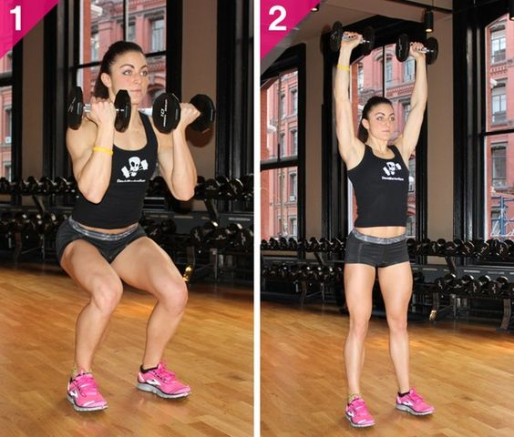 Hold a dumbbell in each hand. Stand with feet shoulder-width apart, knees slightly bent, arms curled to shoulders, palms facing in. Slowly bend knees and sit back into a squat. Return to a standing position, pressing the dumbbells overhead, palms rotating