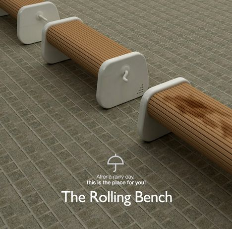 The Rolling Bench- after it rains and the benches are wet, just crank the handle to the dry side...pretty clever!