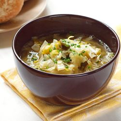 Leek and Cabbage Soup, from Gooseberry Mooseberry.
