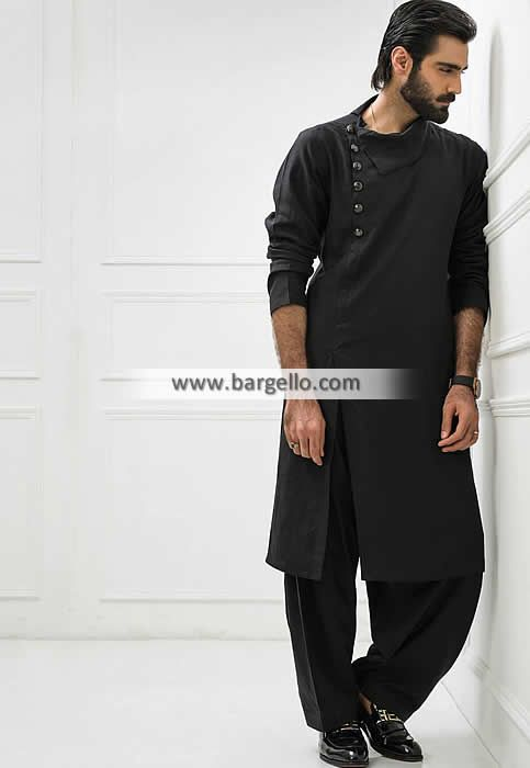 Designer Black Cotton Kurta For Mens Pakistani Casual Menswear