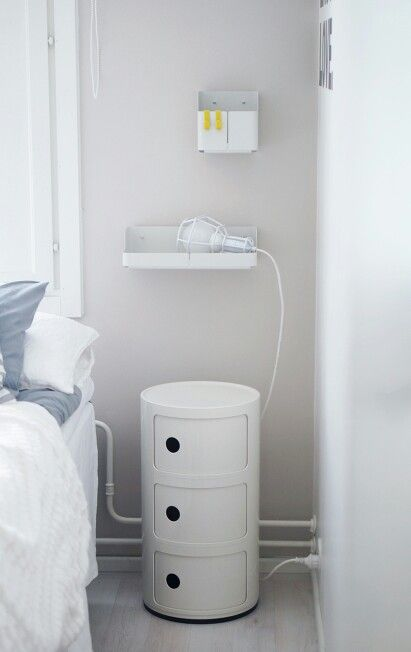 Kartell Componibili as bed side table, iittala Aitio for small storage