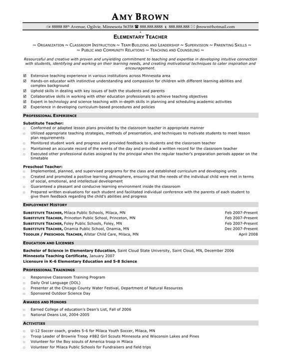 Elementary Teacher Resume Examples -    wwwresumecareerinfo - music teacher resume examples