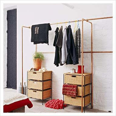 Copper piping perfect for a room with no closet space - Room with no closet ...