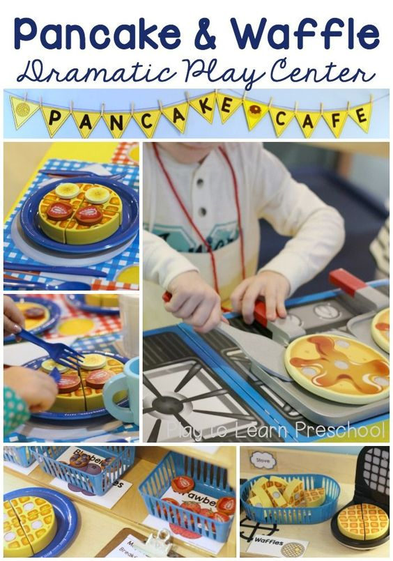 How cute is this Cafe Dramatic Play center?! Children can make pancakes and waffles with a bunch of different toppings. The menu and order forms are so great for early literacy, too.