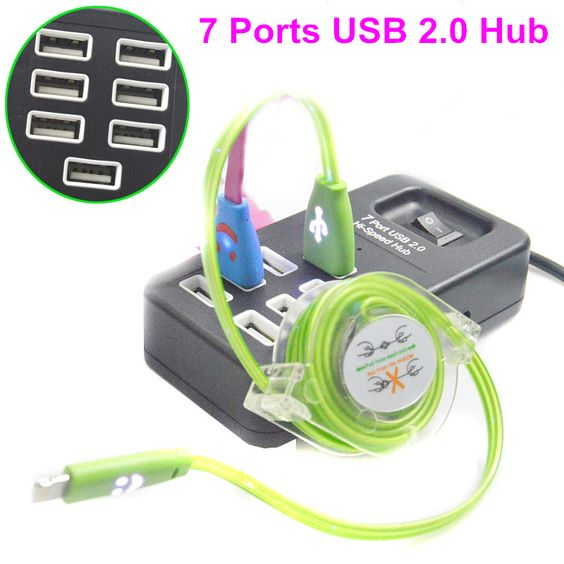 New!! High Speed USB 2.0 7-Ports Portable USB Charger 480 Mbps On/Off Switch USB Splitter Adapter For PC Laptop
