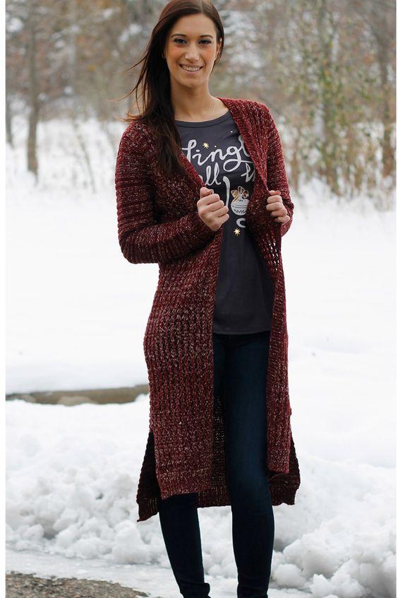 Burgundy Long Knit Cardigan