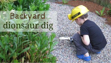 Spark interest in dinosaurs with pretend play and a dinosaur bone dig in your own yard.: Kiddos, Backyard Dinosaur, Kiddie Pool, Kiddo S, Outside Backyard Flowers, Backyard Fossil, Beautiful Boys, Fossil Hunt