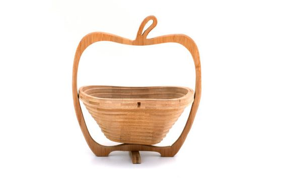 wood basket vintage fruit bowl collapsable basket apple shaped accordion designer container kitchen storage teacher's gift desk school decor on Etsy, Verkauft