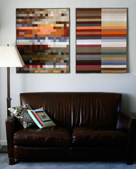 DIY: How to Hang a Fabric, Canvas (I just love the two small quilts!)