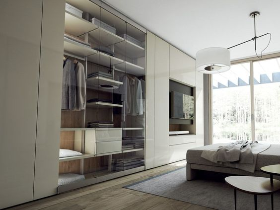Sectional lacquered wood and glass wardrobe with built-in TV ROOMY - glas küchenrückwand fliesenspiegel