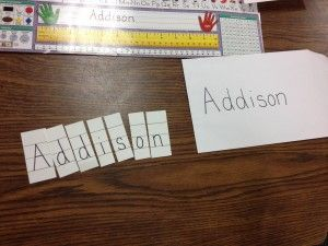 Idea for helping kids to learn the order and orientation of the letters in their names (and their friends' names!)