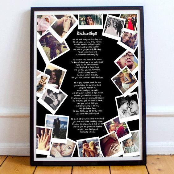 Regalo de aniversario personalizado para novia foto collage