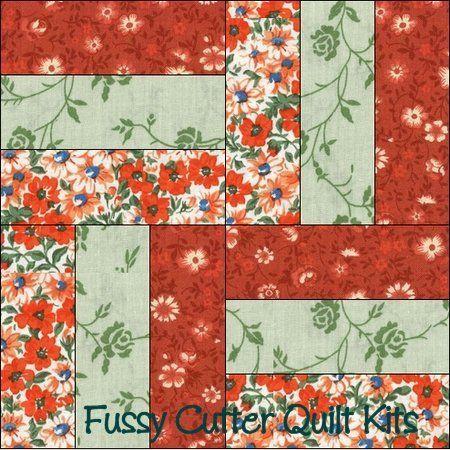 Orange Green Flowers Fabric Easy Pre Cut Rail Fence Quilt