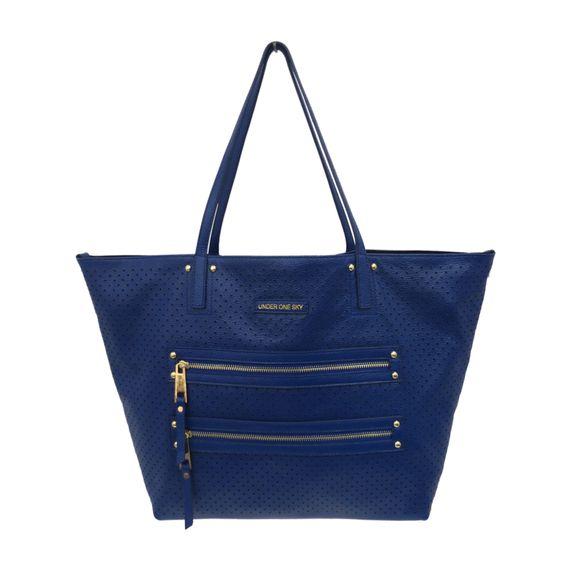 Reversible Perforated Tote Bag with Bonus Cross-body Handbag