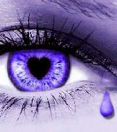 A purple eye... with a heart and a tear!