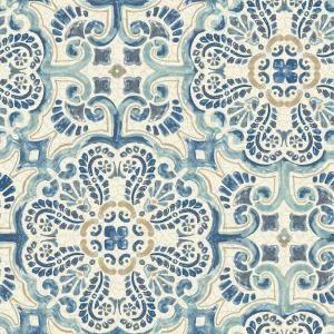 Nuwallpaper Blue Florentine Tile Vinyl Strippable Wallpaper Covers 30 75 Sq Ft Nu2235 The Home Depot Nuwallpaper Tile Wallpaper Peel And Stick Wallpaper