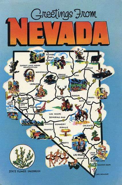 GREETINGS FROM NEVADA STATE FLOWER SAGEBRUSH And STATE MAP - Map of nevada and arizona usa