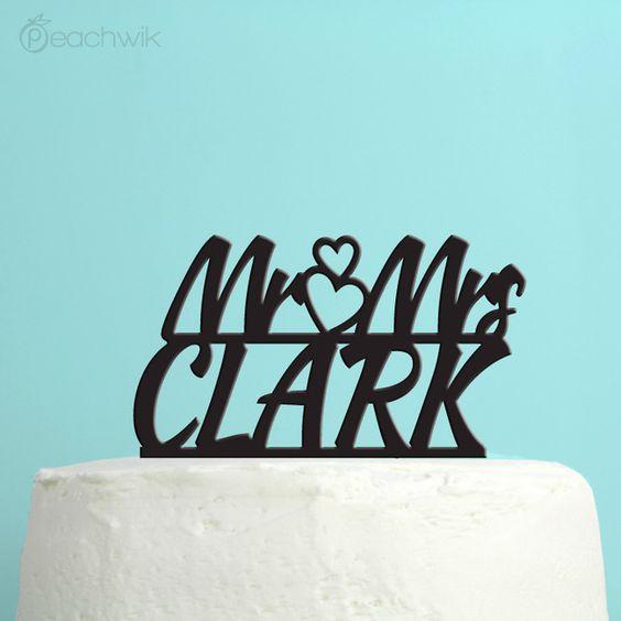 Personalized Mr & Mrs Bold Script Wedding Cake Topper - Personalized Last Name Wedding Cake Topper - By Peachwik