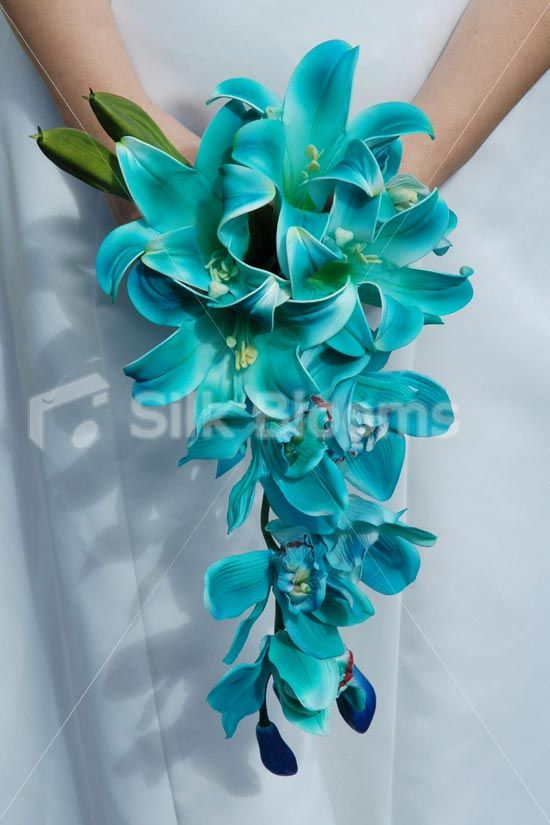 Blue Lilies bouquet (artificial flowers but they are gorgeous!)