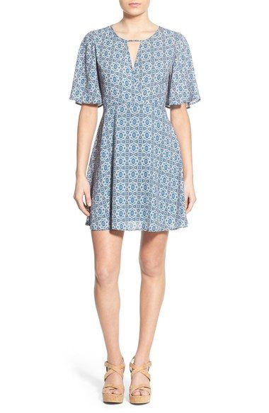 Lush Print Flutter Sleeve Skater Dress available at #Nordstrom