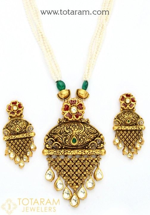 22k Gold Antique Necklace Drop Earrings Set With Fancy Stones Onyx Beads Pearls Gold Necklace Set Gold Jewelry For Sale Mens Gold Jewelry