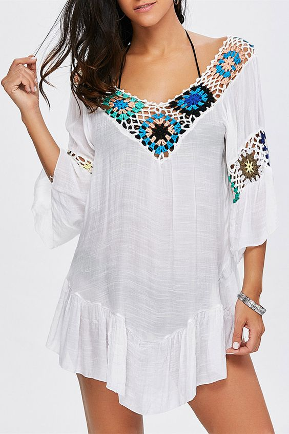 $13.05 V Neck Flounce Floral Crochet Cover-Up - White
