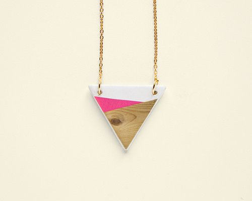 "Collier ""Geometry is fun"" / Rose et bois / Depeapa"