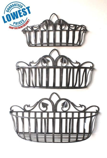 Tuscan Wrought Iron Hand Forged Wall Planter Baskets Set Of 3 Tuscan Wrought Iron Wrought Iron Decor Wall Planter
