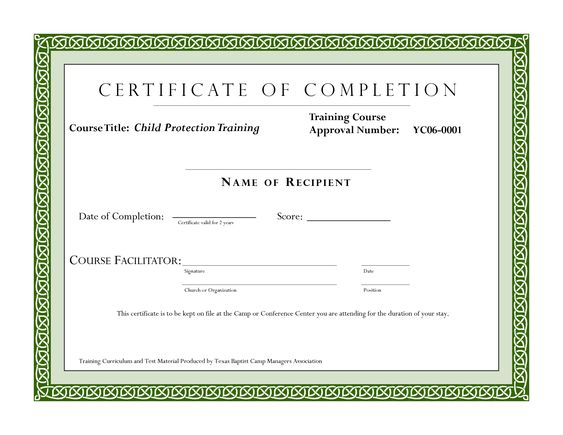 Course Completion Certificate Template – Sample Certificate of Training Completion