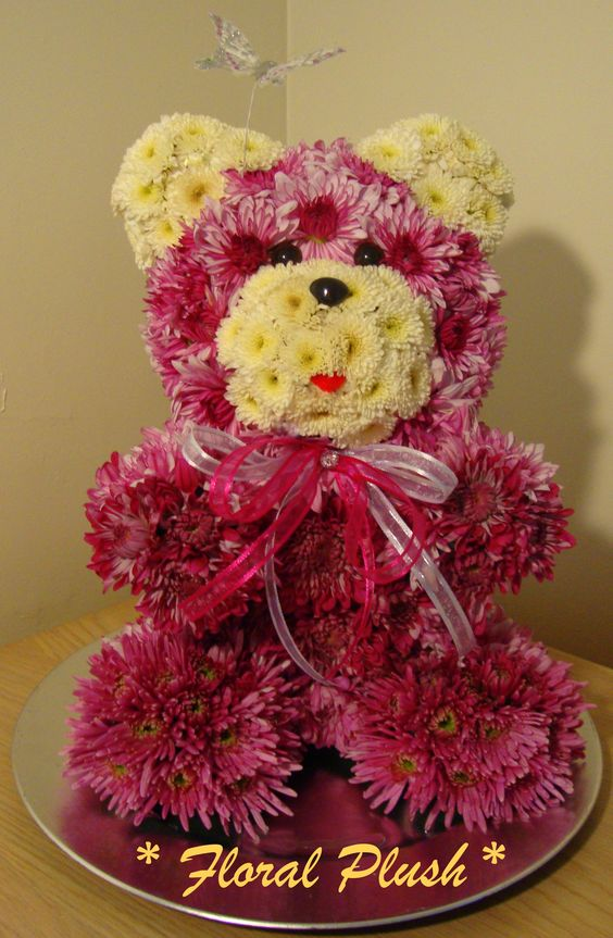 Valentine 39 s day flowers teddy bear made out of real - Flower teddy bear arrangement ...