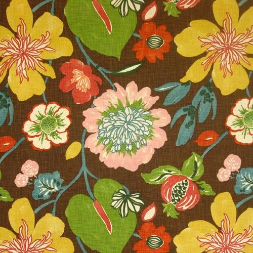Braemore Gorgeous Chesnut Floral Fabric - My Fabric Connection