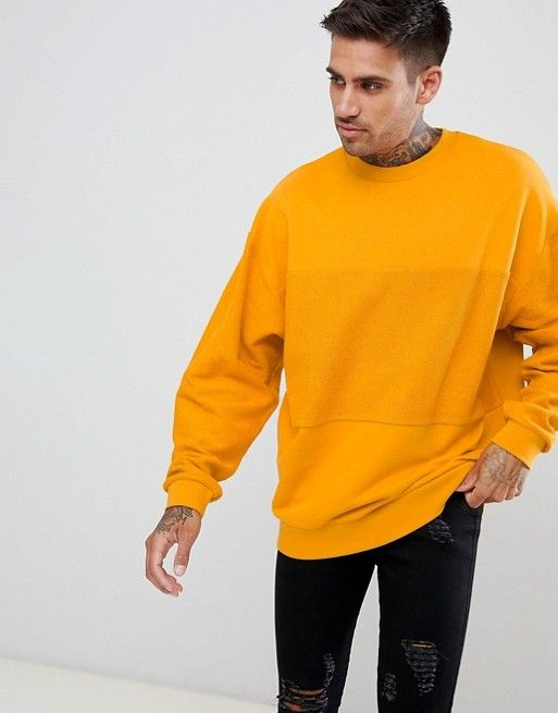 DESIGN oversized sweatshirt in yellow with reverse panel in