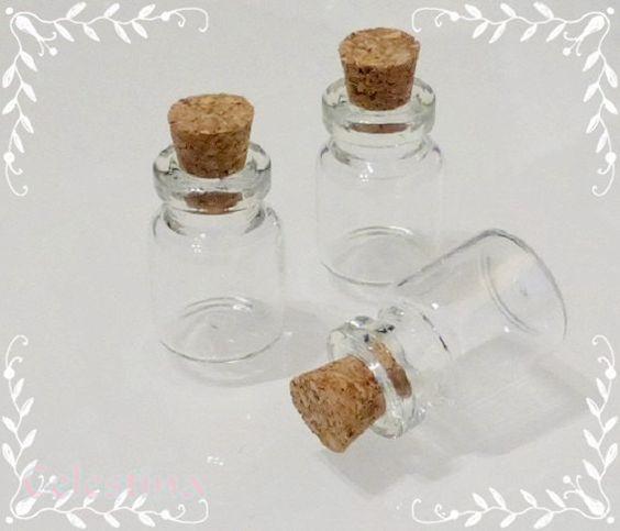 10 x Miniature - Glass Bottles / Vials & Cork Stopper Decorative Storage Pendant - Bead Storage - Glass Pendants 22mm x 14mm